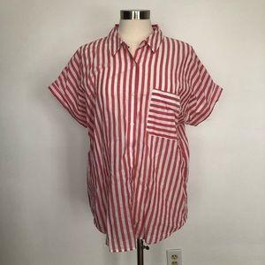 Calvin Klein cotton button down shirt red & white